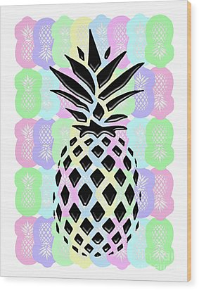 Pineapple Collage Wood Print by Liesl Marelli