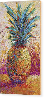 Pineapple Expression Wood Print by Marion Rose