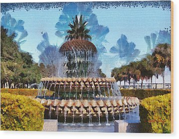 Pineapple Fountain Wood Print by Lynne Jenkins