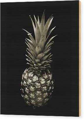 Pineapple In Sepia. Wood Print