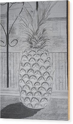 Pineapple In Window Wood Print