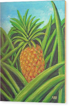 Pineapple Painting #332 Wood Print by Donald k Hall