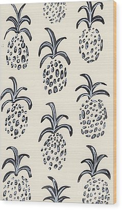 Pineapple Print Wood Print by Anne Seay