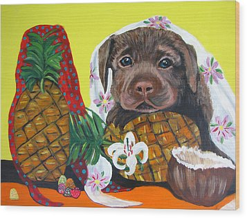 Pineapple Puppy Wood Print by Aleta Parks
