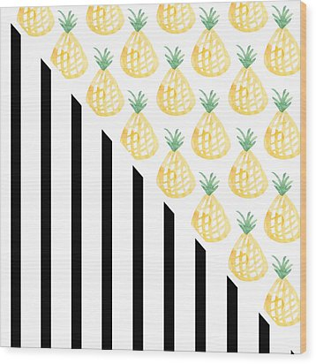 Pineapples And Stripes Wood Print by Linda Woods