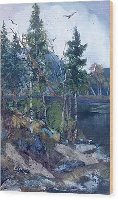Wood Print featuring the painting Pinelake  by Helen Harris