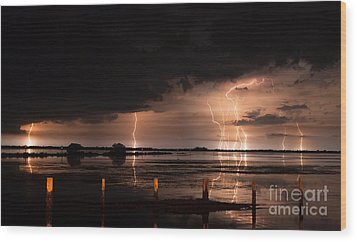 Pineland Nights Wood Print