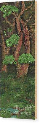 Pines By The Brook Wood Print by Anna Folkartanna Maciejewska-Dyba