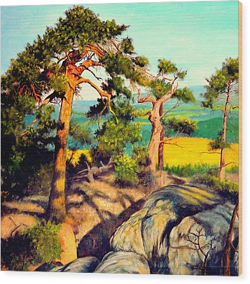 Pines On The Rocks Wood Print