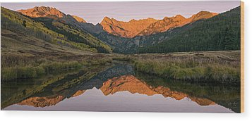 Piney River Panorama Wood Print by Aaron Spong