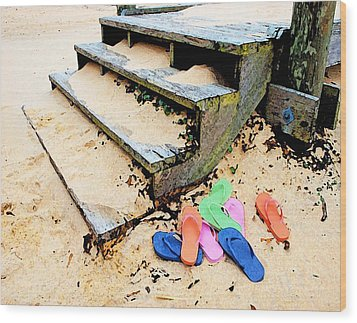 Pink And Blue Flip Flops By The Steps Wood Print by Michael Thomas