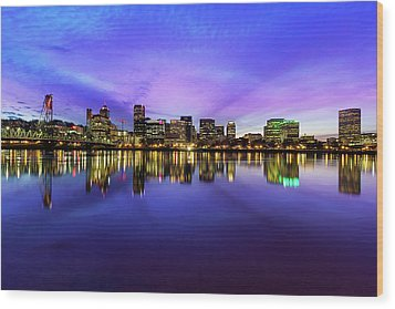 Pink And Blue Hue Evening Sky Over Portland Oregon Wood Print by David Gn