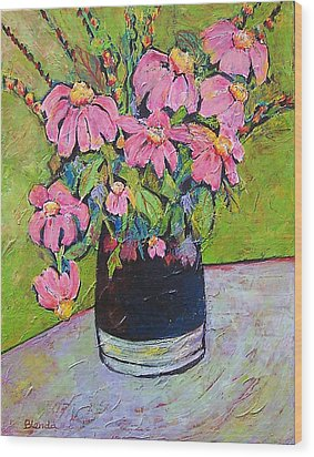 Pink And Green Wood Print by Blenda Studio