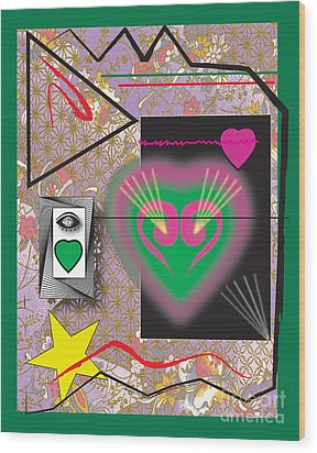 Wood Print featuring the digital art Pink And Green Heart Design by Christine Perry