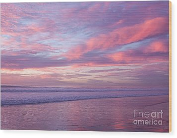 Pink And Lavender Sunset Wood Print