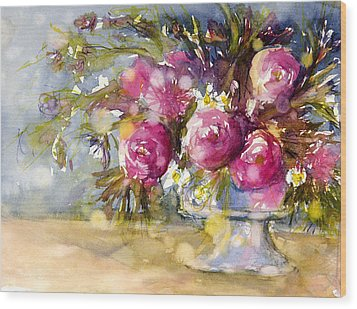 Pink And Navy Wood Print by Judith Levins