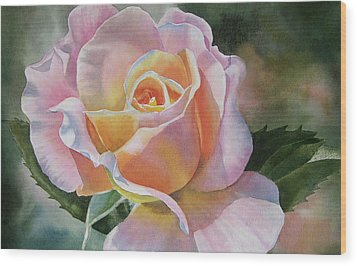 Pink And Peach Rose Bud Wood Print