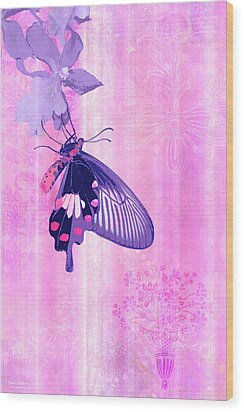 Pink And Purple Companions 1 Wood Print by JQ Licensing