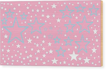 Pink And Turquoise Stars 1 Wood Print