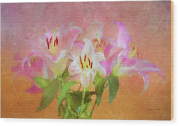 Wood Print featuring the photograph Pink And White Lilies by Bellesouth Studio