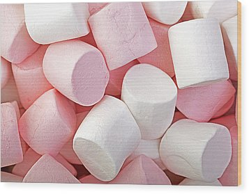 Pink And White Marshmallows Wood Print by Jane Rix