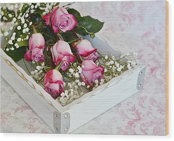 Pink And White Roses In White Box Wood Print