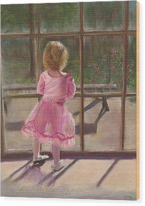 Pink Ballerina Wood Print by Kathy Wood