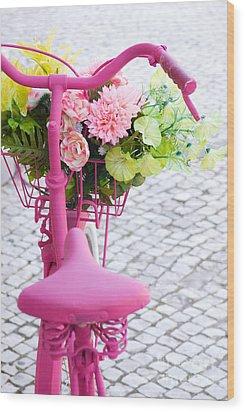Pink Bike Wood Print by Carlos Caetano