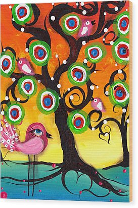 Pink Birds On A Tree Wood Print by  Abril Andrade Griffith