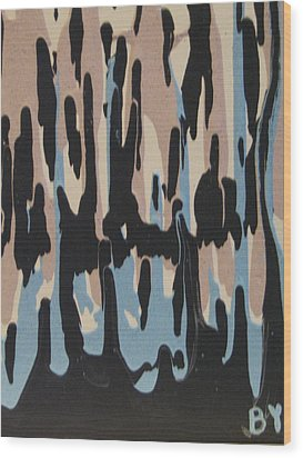 Pink Blue And Brown Drips Wood Print by Barbara Yearty