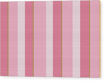 Wood Print featuring the mixed media Pink Blush Stripe Pattern by Christina Rollo