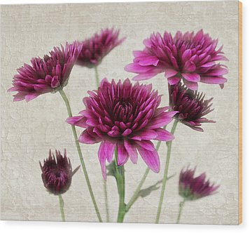 Pink Bouquet Wood Print by Judy Vincent