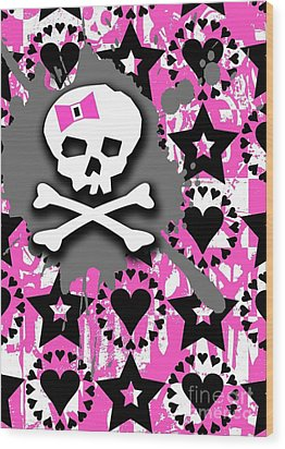 Pink Bow Skull Wood Print by Roseanne Jones