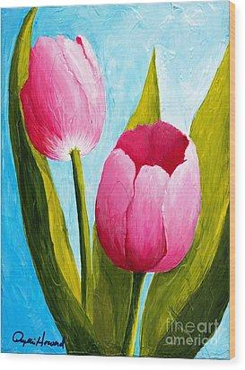 Pink Bubblegum Tulip II Wood Print