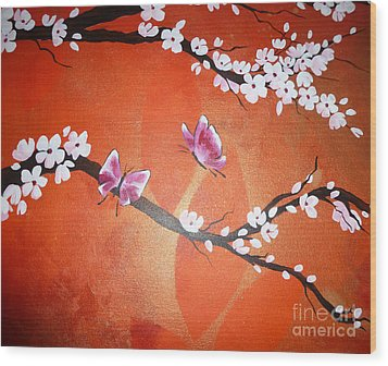 Pink Butterflies And Cherry Blossom Wood Print