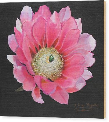 Wood Print featuring the painting Pink Cactus Flower by M Diane Bonaparte