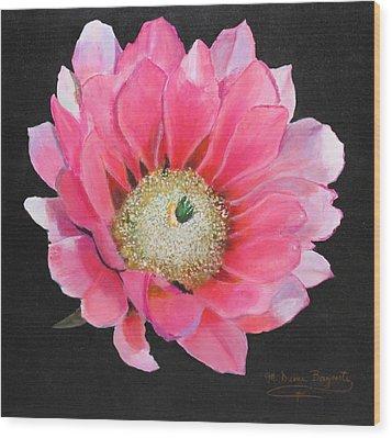 Pink Cactus Flower Wood Print by M Diane Bonaparte