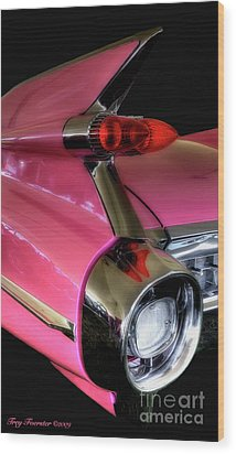 Wood Print featuring the photograph Pink Cadillac Blackout by Trey Foerster