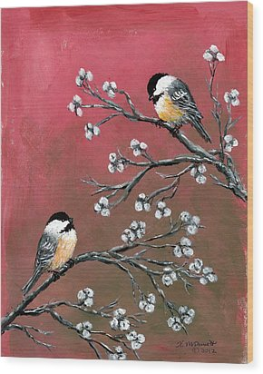 Pink Chickadees Wood Print by Kathleen McDermott
