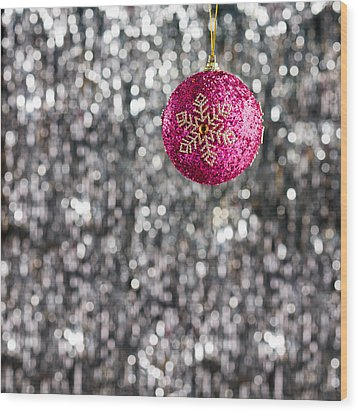 Wood Print featuring the photograph Pink Christmas Bauble by Ulrich Schade