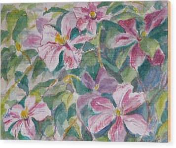 Pink Clematis Wood Print by Jan Bennicoff