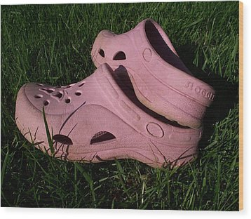 Pink Clogs Wood Print by Emily Kelley