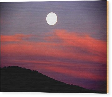 Pink Clouds With Moon Wood Print