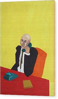 Pink Collar Man Wood Print by Sheri Buchheit