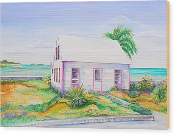 Wood Print featuring the painting Pink Cottage by Patricia Piffath