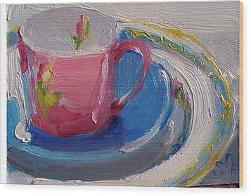 Pink Cup Wood Print by Susan Jenkins
