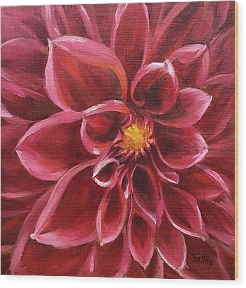 Wood Print featuring the painting Pink Dahlia by Pam Talley