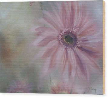 Wood Print featuring the painting Pink Daisies by Donna Tuten