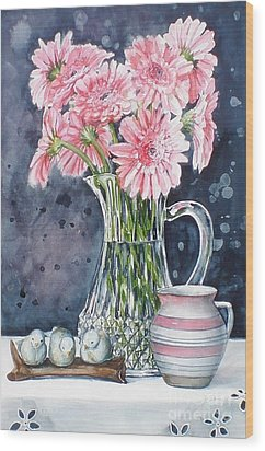 Pink Daisies In Crystal Pitcher Wood Print