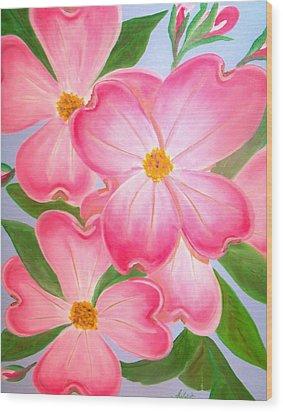Pink Dogwood Wood Print by Kathern Welsh
